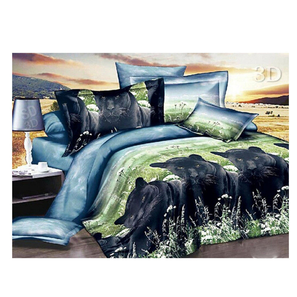 3D Animal Tiger Lion Wolf Queen King Size Bed Quilt/Duvet Sheet Cover 4PC Set Cotton Sanded - Mega Save Wholesale & Retail