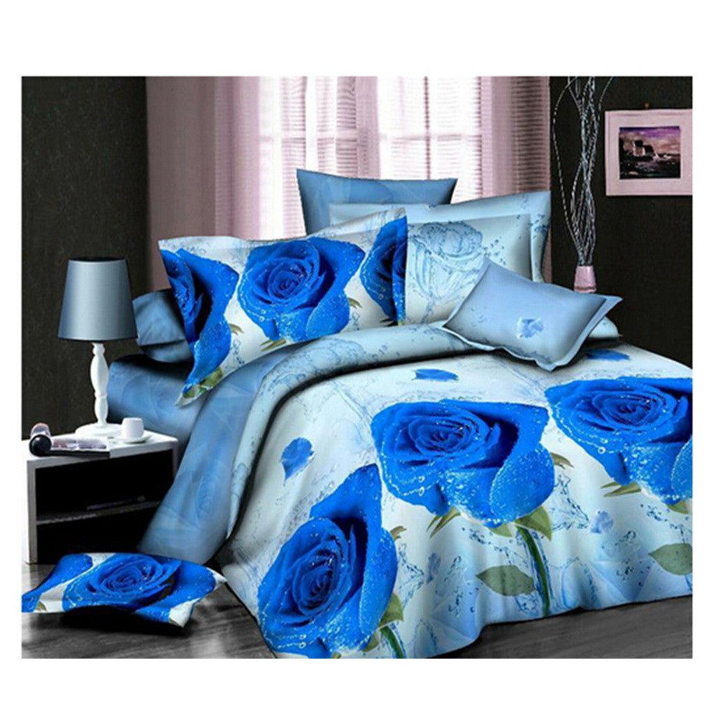 3D Flower Queen King Size Bed Quilt/Duvet Sheet Cover 4PC Set Cotton Sanded 029 - Mega Save Wholesale & Retail
