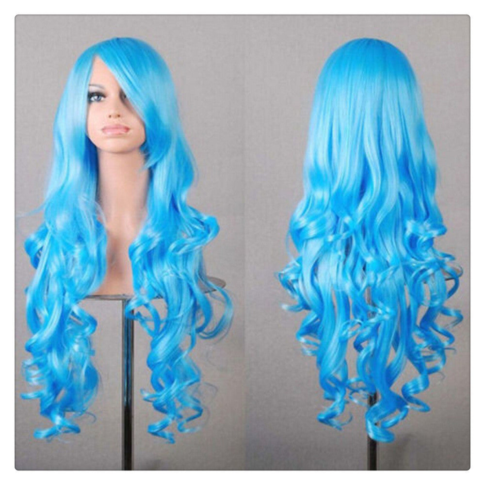 Women New Fashion Women Girl 80cm Wavy Curly Long Hair Full Cosplay Party Sexy Lolita wig  Blue - Mega Save Wholesale & Retail