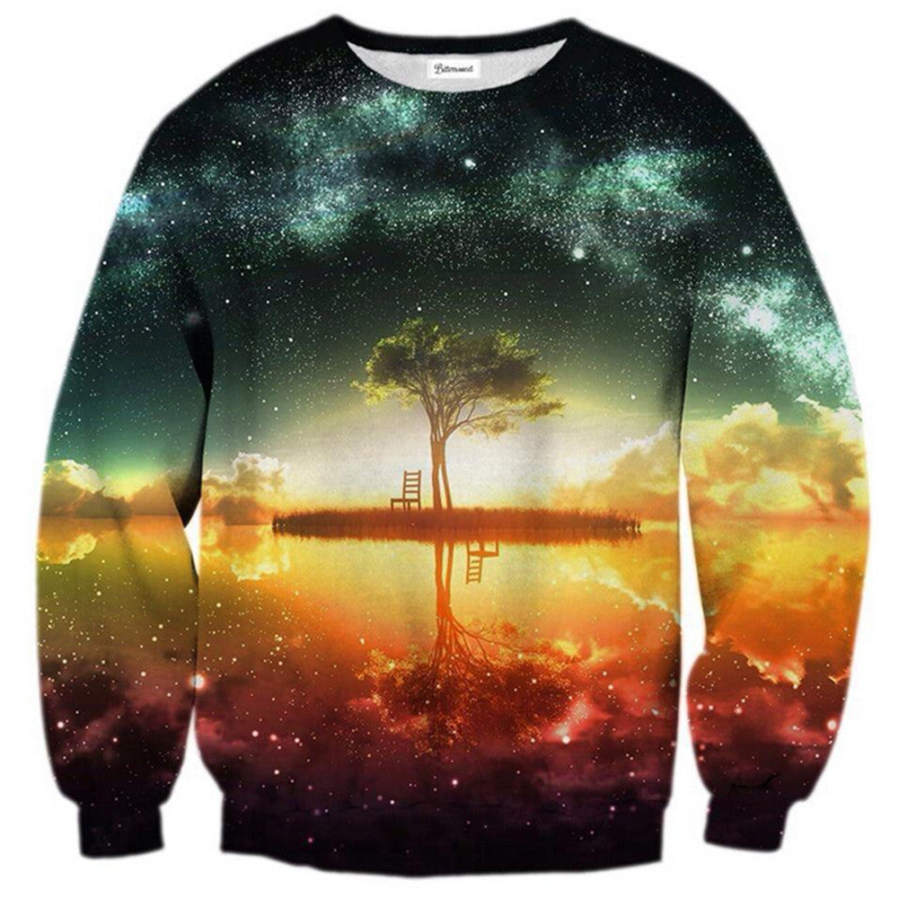 Womens Mens 3D Print Realistic Space Galaxy Animals Hoodie Sweatshirt Top Jumper isolated island - Mega Save Wholesale & Retail