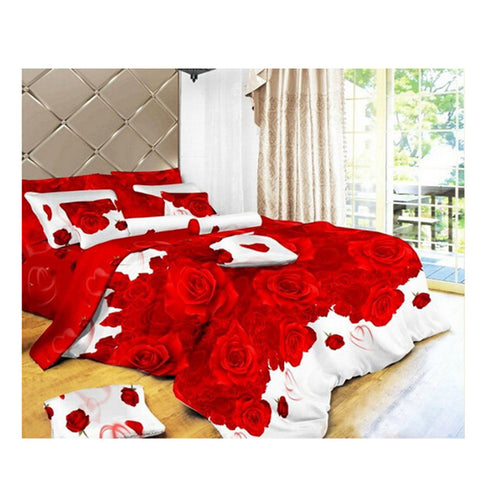 3D Flower Queen King Size Bed Quilt/Duvet Sheet Cover 4PC Set Cotton Sanded 021 - Mega Save Wholesale & Retail