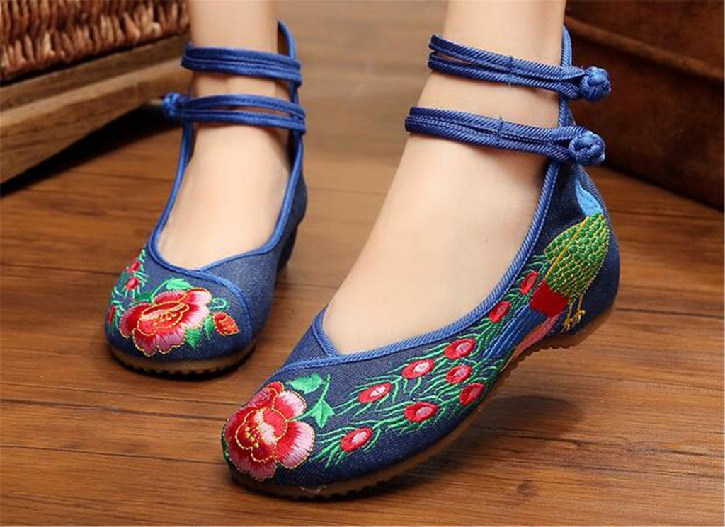 Chinese Embroidered Double Pankou Blue Elevator Shoes for Women in Colorful Design - Mega Save Wholesale & Retail - 3