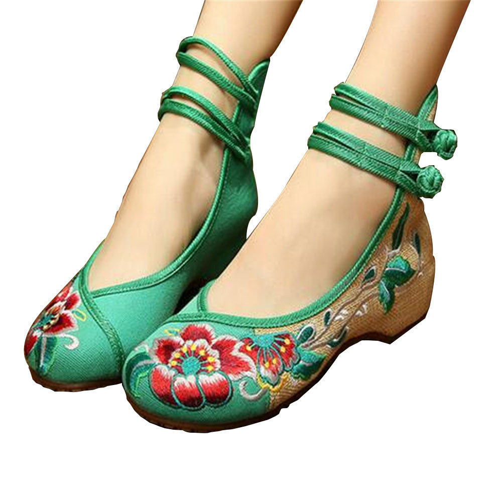 Vintage Embroidered Flat Ballet Ballerina Chinese Mary Jane Shoes for Women in Cotton Green Floral Design - Mega Save Wholesale & Retail - 1