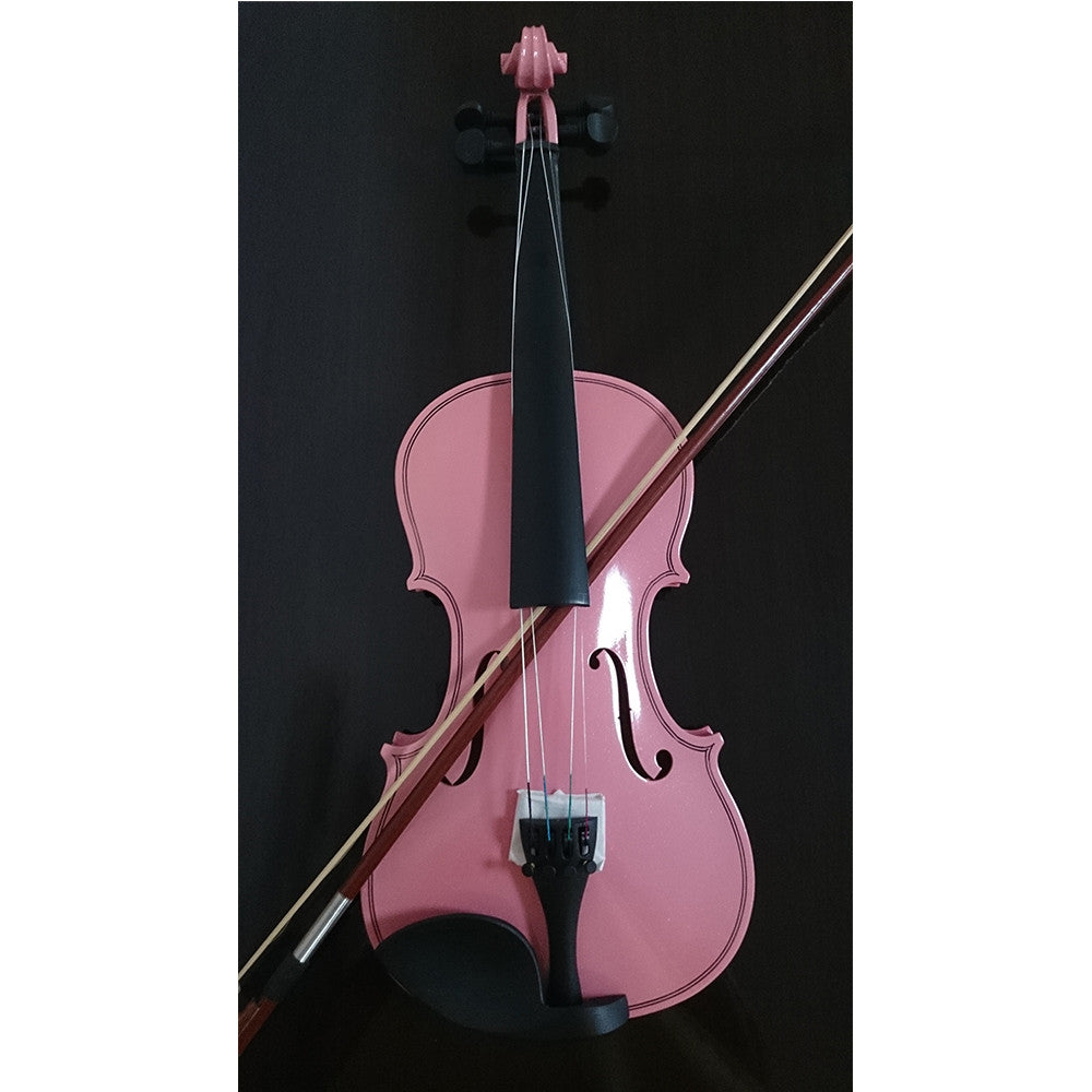 Student Acoustic Violin Full 3/4 Maple Spruce with Case Bow Rosin Pink Color - Mega Save Wholesale & Retail