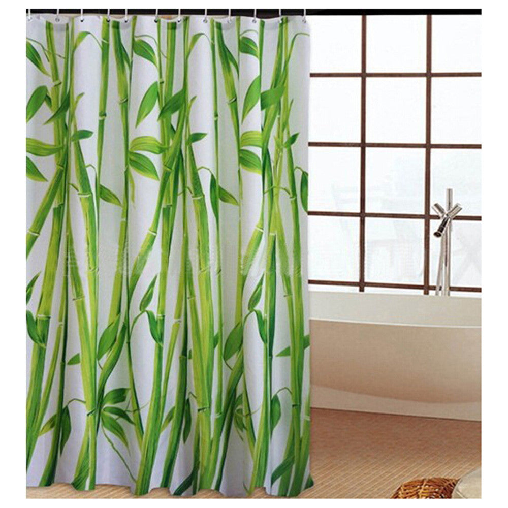 Black Tree White Fabric Bathroom Shower Curtain Polyester with 12 Hooks - Mega Save Wholesale & Retail - 2