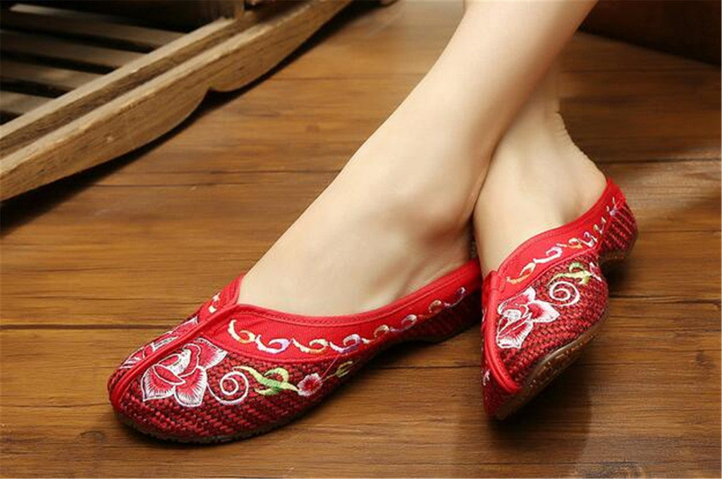 Chinese Mary Jane Shoes in Gorgeous Red Embroidery for Women in Floral Design - Mega Save Wholesale & Retail - 2