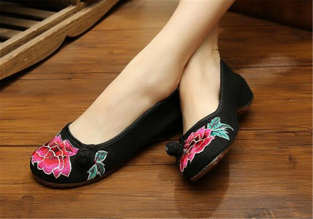 Vintage Chinese Embroidered Ballet Ballerina Cotton Black Flat Mary Jane Shoes for Women in Wonderful Floral Design - Mega Save Wholesale & Retail - 2