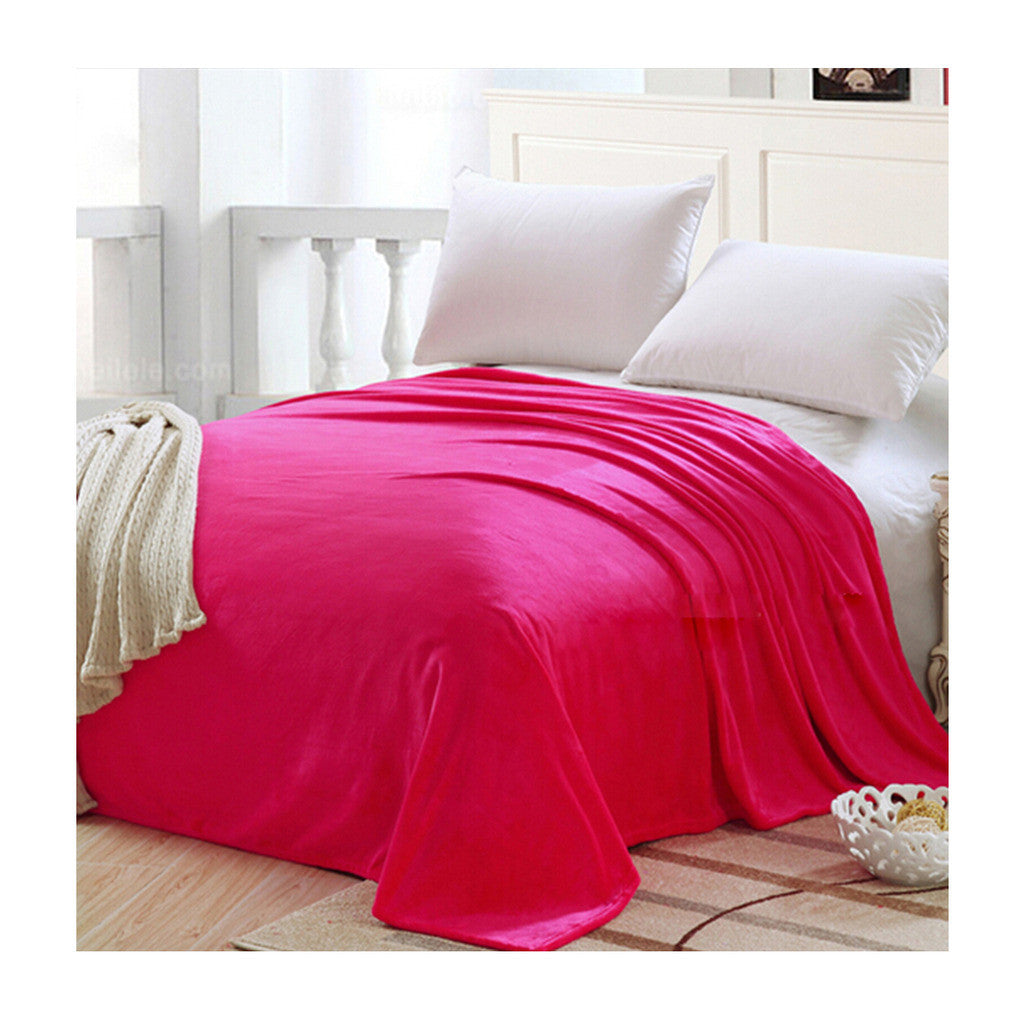 Plush Soft Queen Soild Color Micro fleece Bed Throw Blanket  Rose Red - Mega Save Wholesale & Retail