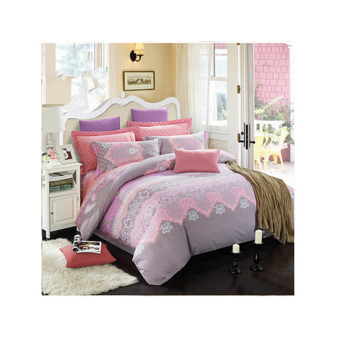 Bed Quilt Duvet Sheet Cover 4PC Set Upscale Cotton Sanded simple but elegant  035 - Mega Save Wholesale & Retail
