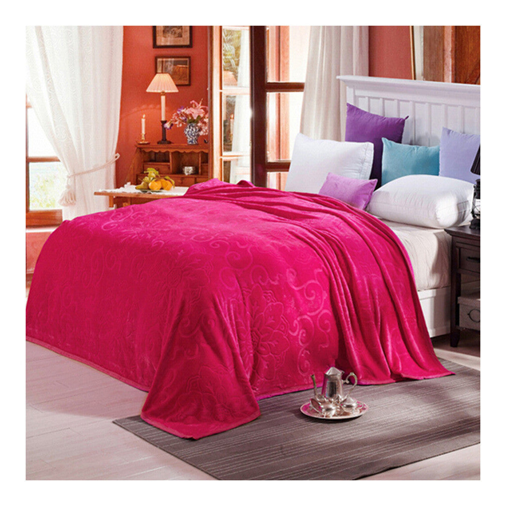 Clipped Pattern Blanket Bedding Throw Fleece Super Soft Warm Value rose red - Mega Save Wholesale & Retail