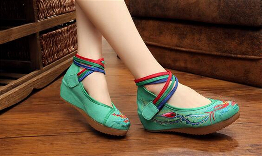 Chinese Embroidered Green Cotton Cheap Elevator shoes for women in Colorful Ankle Straps & Bird Design - Mega Save Wholesale & Retail - 2
