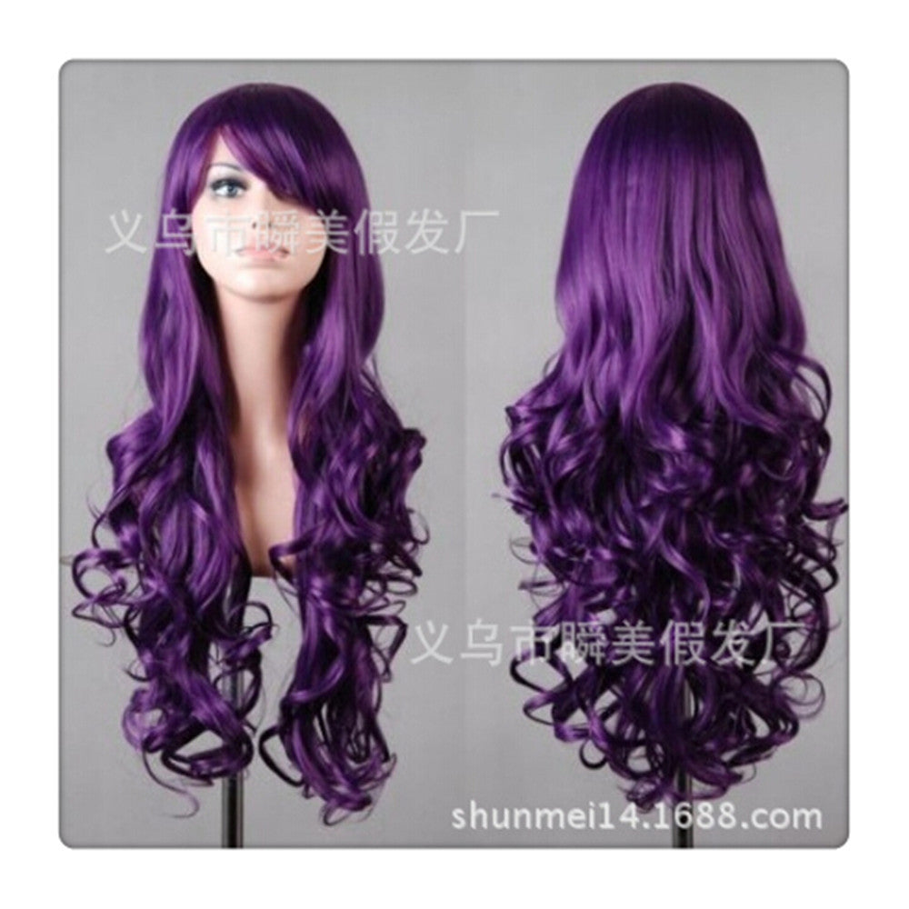 Women New Fashion Women Girl 80cm Wavy Curly Long Hair Full Cosplay Party Sexy Lolita wig  Deep purple - Mega Save Wholesale & Retail