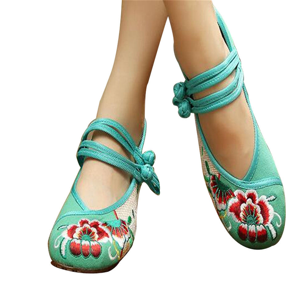 Chinese Embroidered Floral Shoes Women Ballerina Mary Jane Flat Ballet Cotton Loafer Green - Mega Save Wholesale & Retail - 1