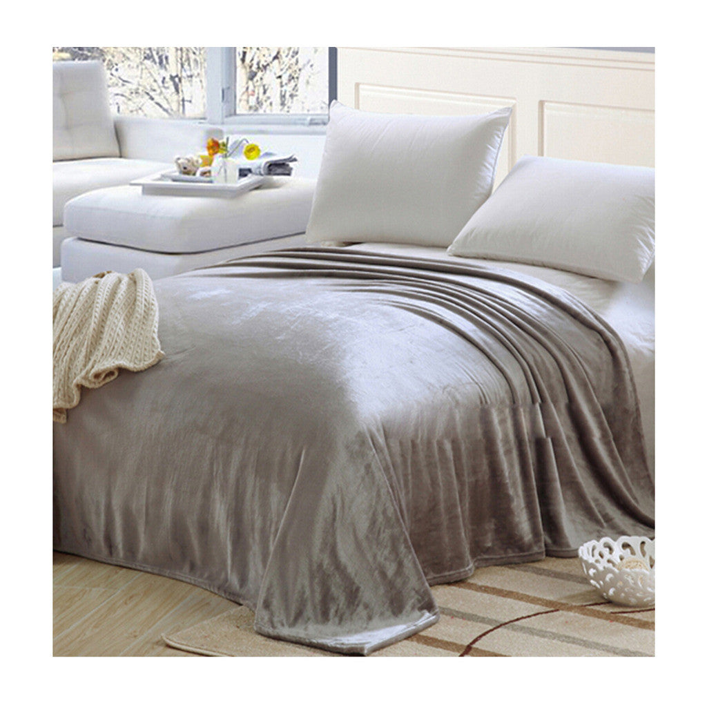 Plush Soft Queen Soild Color Micro fleece Bed Throw Blanket 200cm Gray - Mega Save Wholesale & Retail