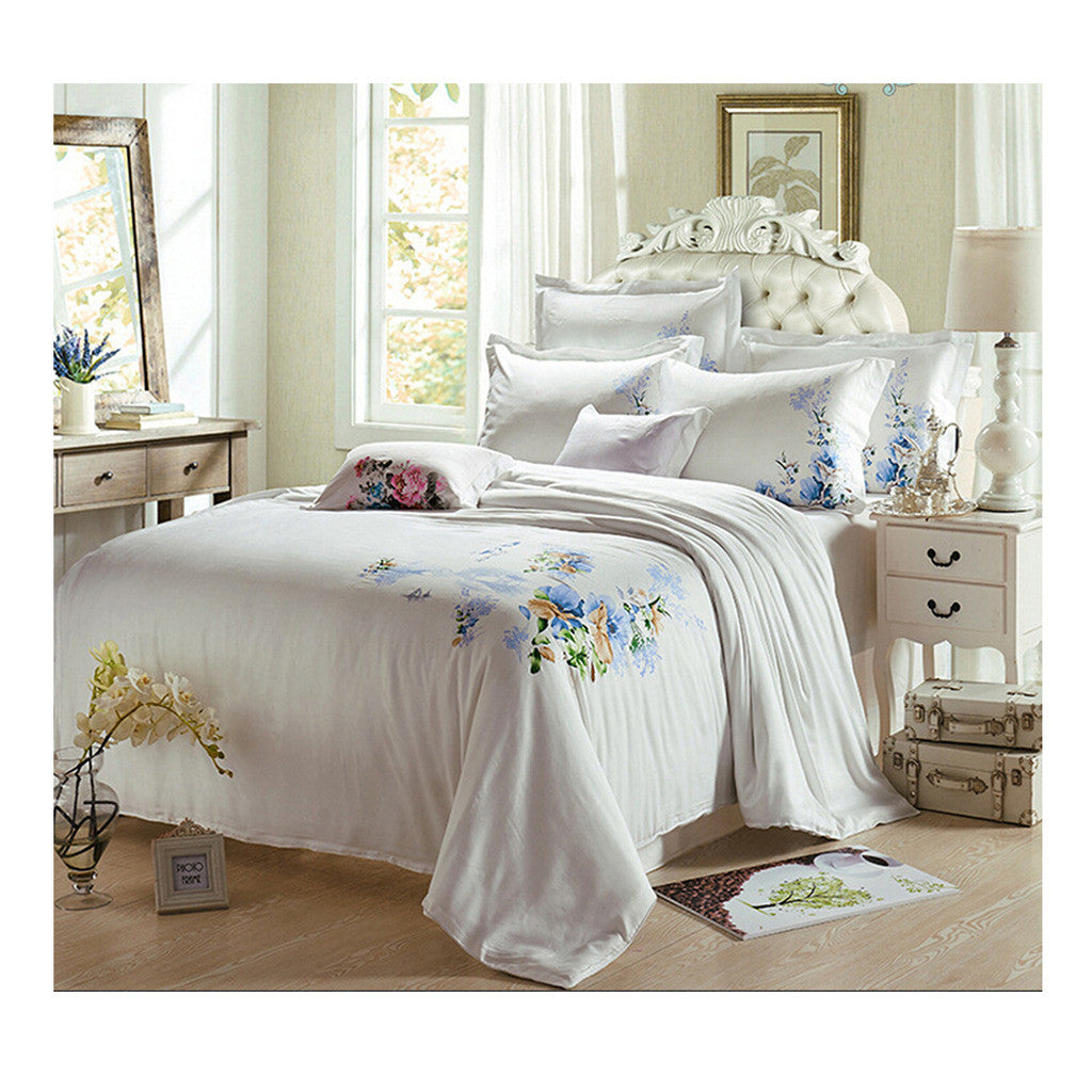 Silk ink and wash painting Duvet Quilt Cover Sets Bedding Cover Set  01 White - Mega Save Wholesale & Retail