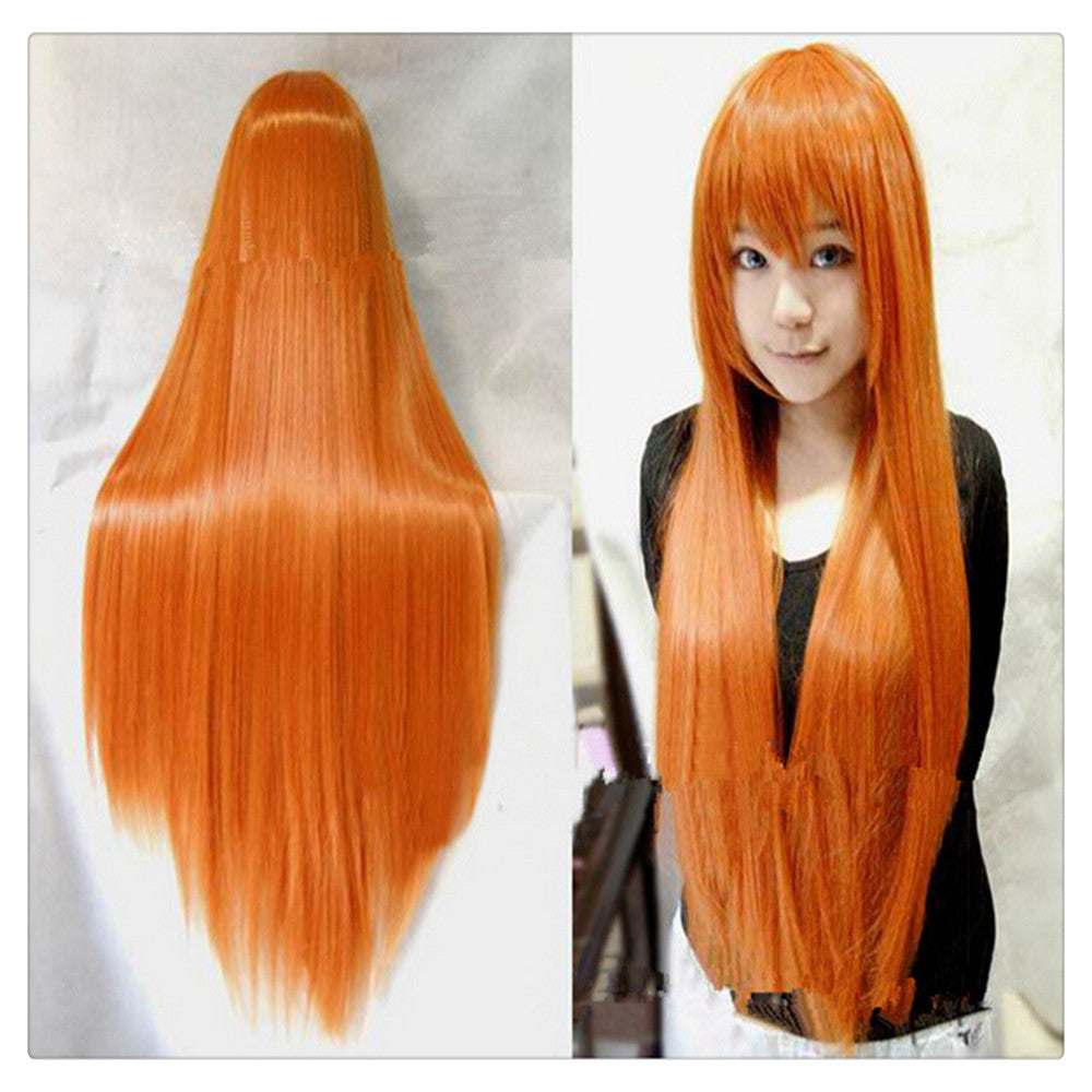 "Women Fashion 100CM/39"" Long straight Cosplay Fashion Wig heat resistant resistant Hair Full Wigs  Orange - Mega Save Wholesale & Retail"