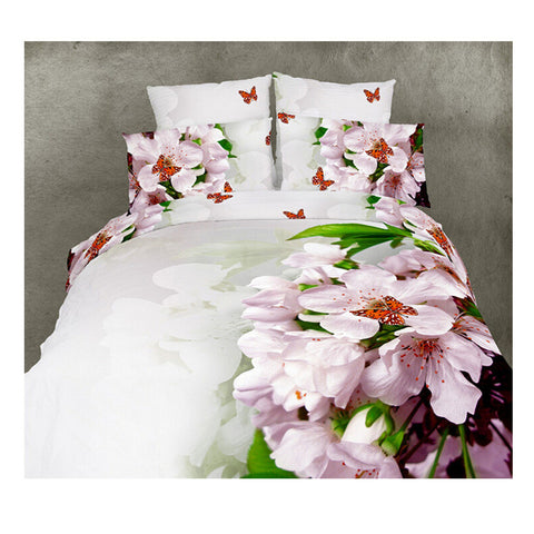 Cotton Active floral 3D printing Quilt Duvet Sheet Cover Sets 4PC Set 07 - Mega Save Wholesale & Retail