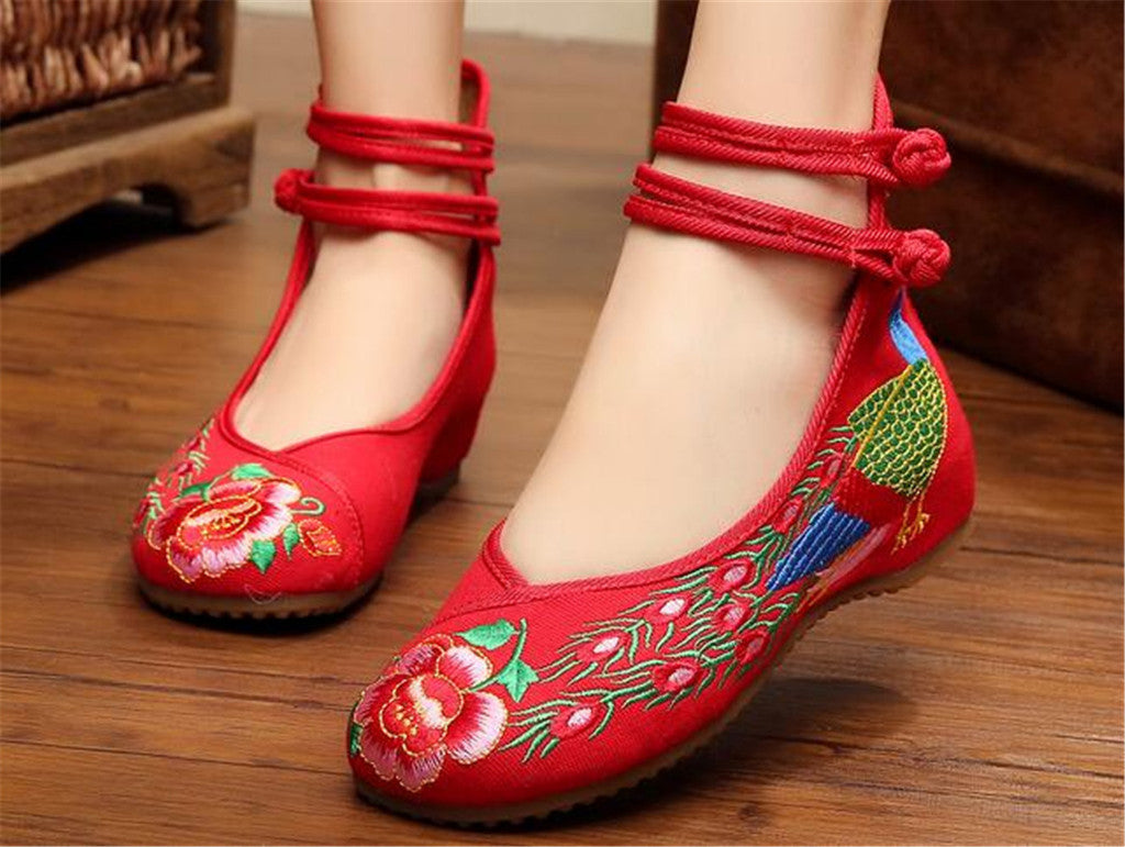 Chinese Embroidered Shoes Women Ballerina  Cotton Elevator shoes Double Pankou Red - Mega Save Wholesale & Retail - 2