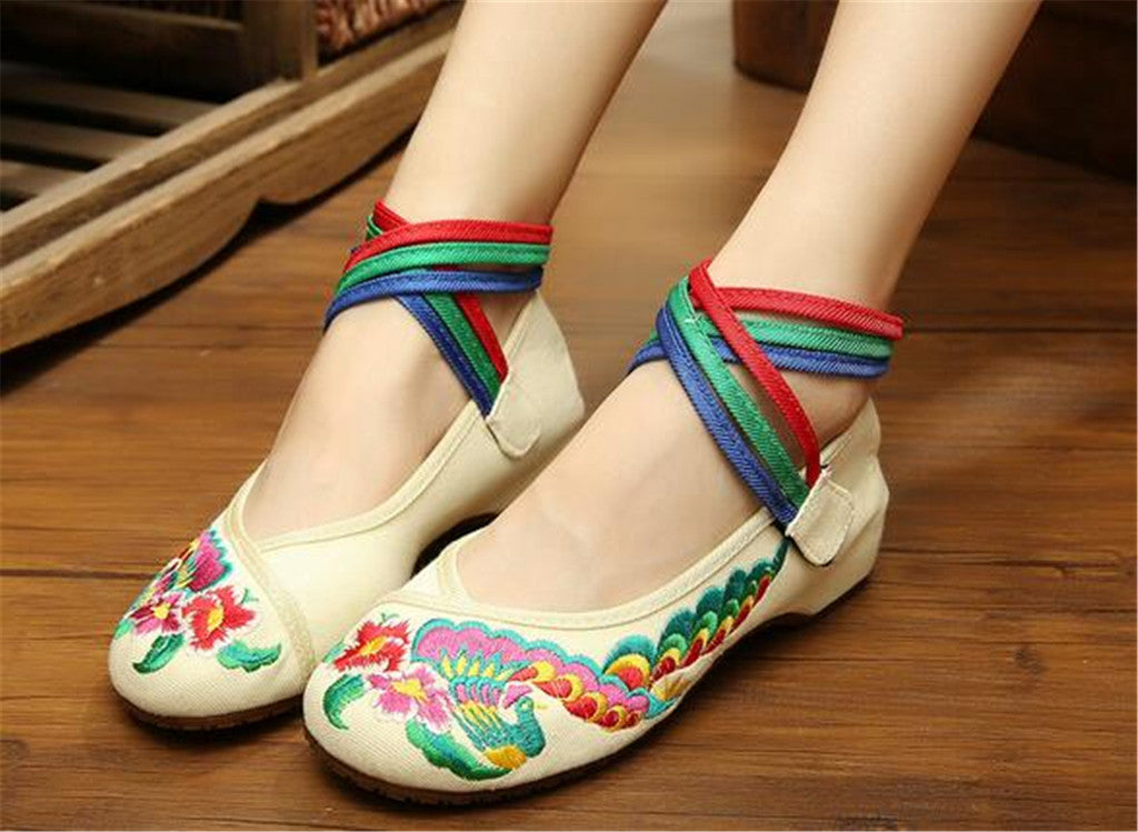 Chinese Embroidered Ballerina ladies Mary Jane Shoes with Colorful Ankle Straps & Floral Design - Mega Save Wholesale & Retail - 2