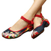 Mary Jane Chinese Embroidered Flat Ballet Ballerina Ladies Black Leather Loafers in Cotton Blue Floral Design - Mega Save Wholesale & Retail - 1