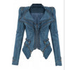 Vintage Hot Punk Grils Cool Rivet Studded Shoulder Motorcycle Denim Jeans Coat Jacket Light blue - Mega Save Wholesale & Retail - 2