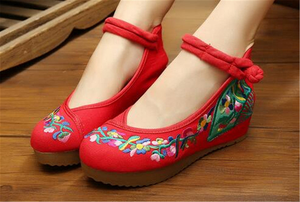 Traditional Embroidered Elevator Ballerina Chinese Mary Jane Shoes in Cotton Red Folding Fan Design - Mega Save Wholesale & Retail - 2
