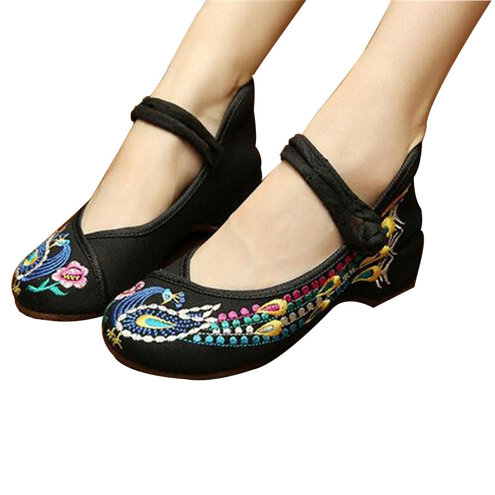 Vintage Chinese Embroidered Ballet Ballerina Cotton Mary Jane Flat Shoes for Women in Bewitching Black Floral Design - Mega Save Wholesale & Retail - 1