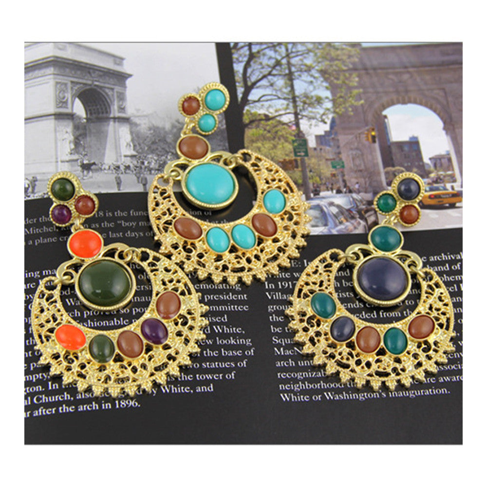 Ethnic Colorful Alloy diamond crescent earrings   SKY BLUE+COFFEE - Mega Save Wholesale & Retail - 3