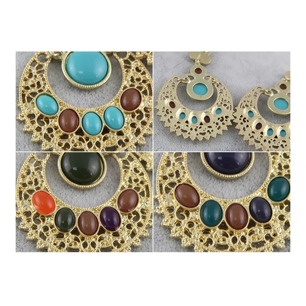 Ethnic Colorful Alloy diamond crescent earrings   SKY BLUE+COFFEE - Mega Save Wholesale & Retail - 4