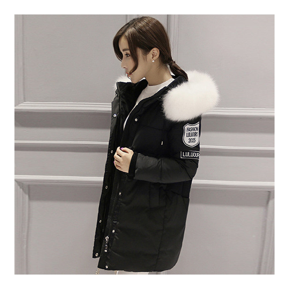Winter Down Coat Woman Middle Long Loose Thick   black   S - Mega Save Wholesale & Retail - 2