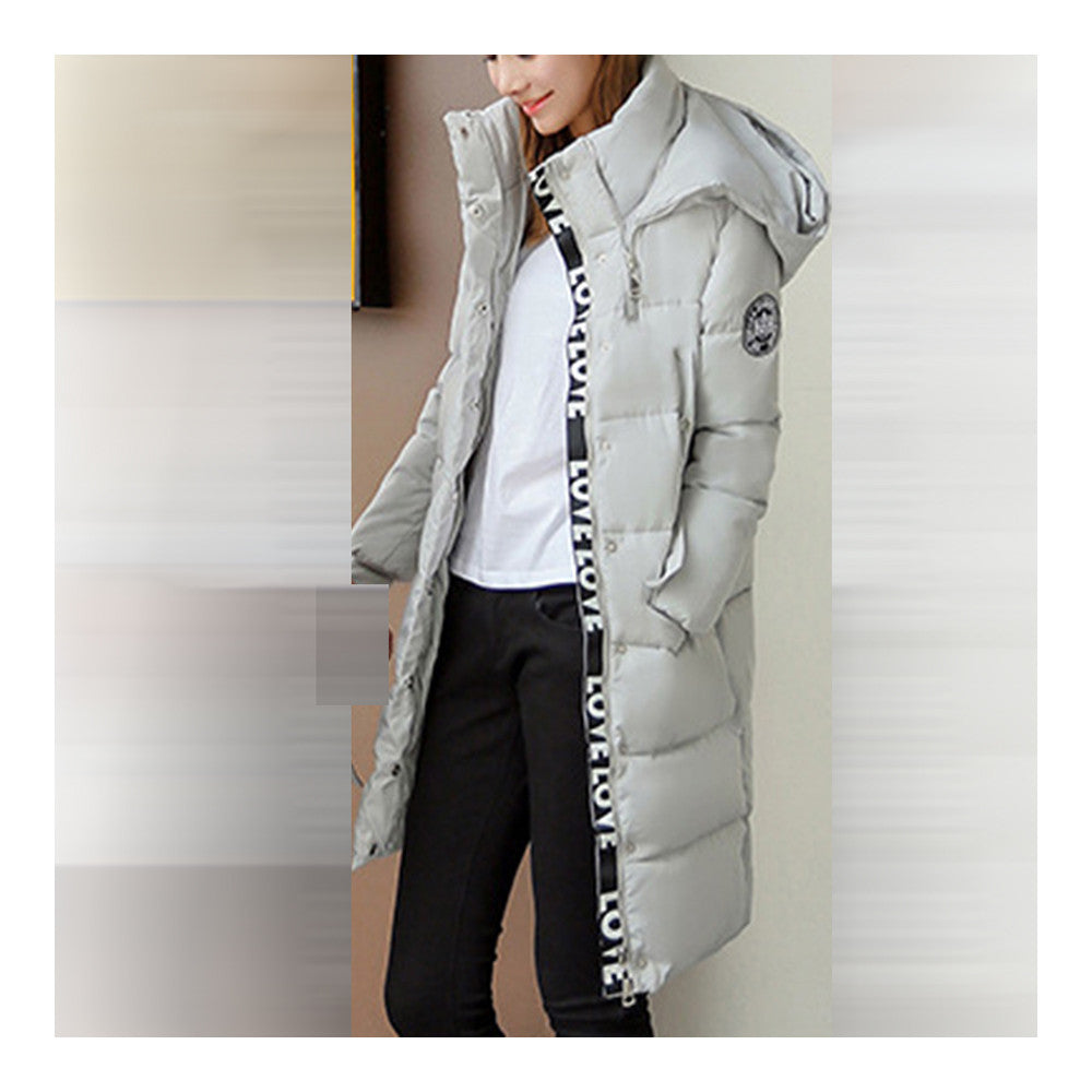 Winter Hooded Loose Middle Long Woman Down Coat  ligt grey   M - Mega Save Wholesale & Retail - 1