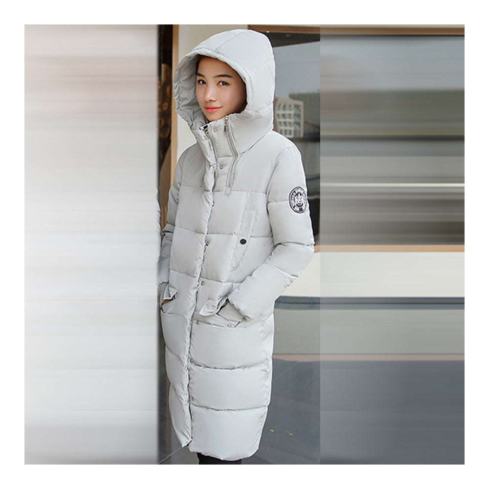 Winter Hooded Loose Middle Long Woman Down Coat  ligt grey   M - Mega Save Wholesale & Retail - 2