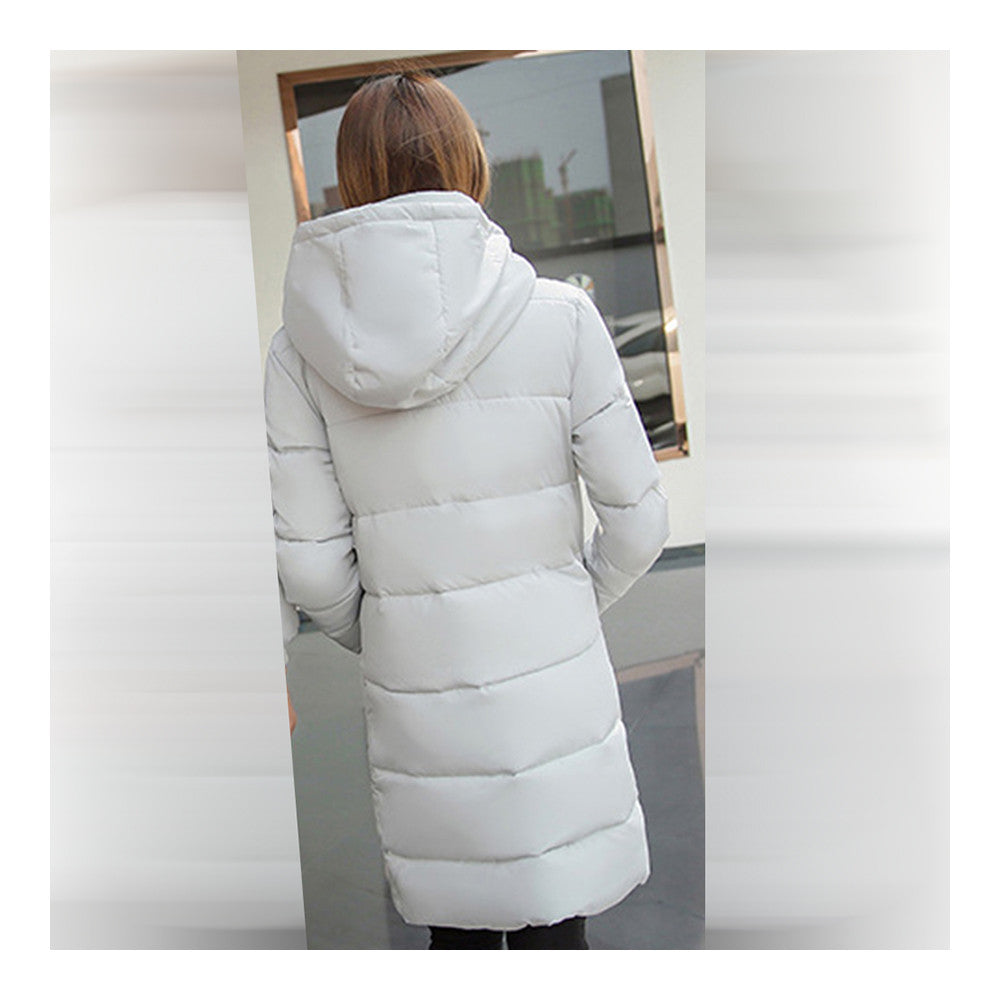 Winter Hooded Loose Middle Long Woman Down Coat  ligt grey   M - Mega Save Wholesale & Retail - 3