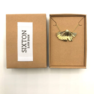 Boho ginkgo leaf necklace