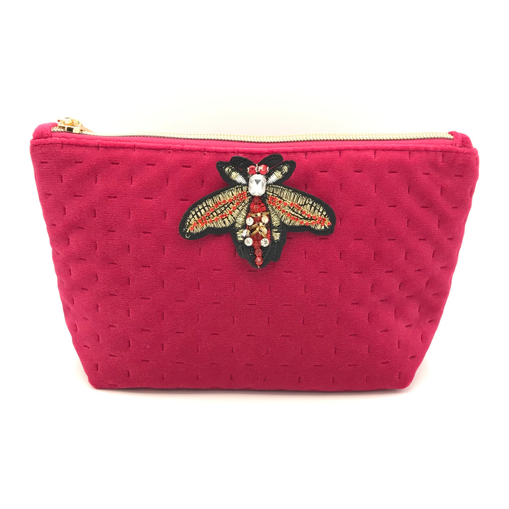 Velvet make-up bag in bright pink - Brooklyn