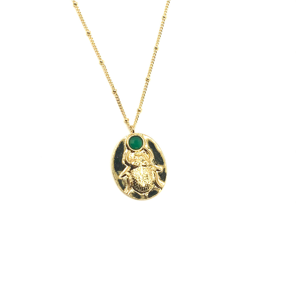 Deco emerald beetle necklace