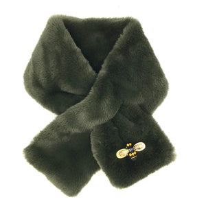 Helsinki scarf in military olive faux fur