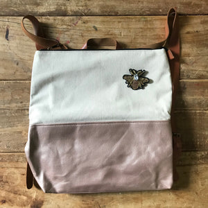 Cream & rose gold backpack