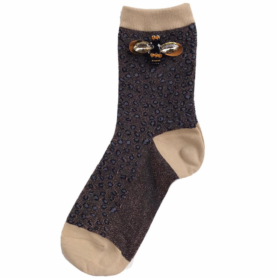 Cheetah luxe socks with or without bumblebee pin