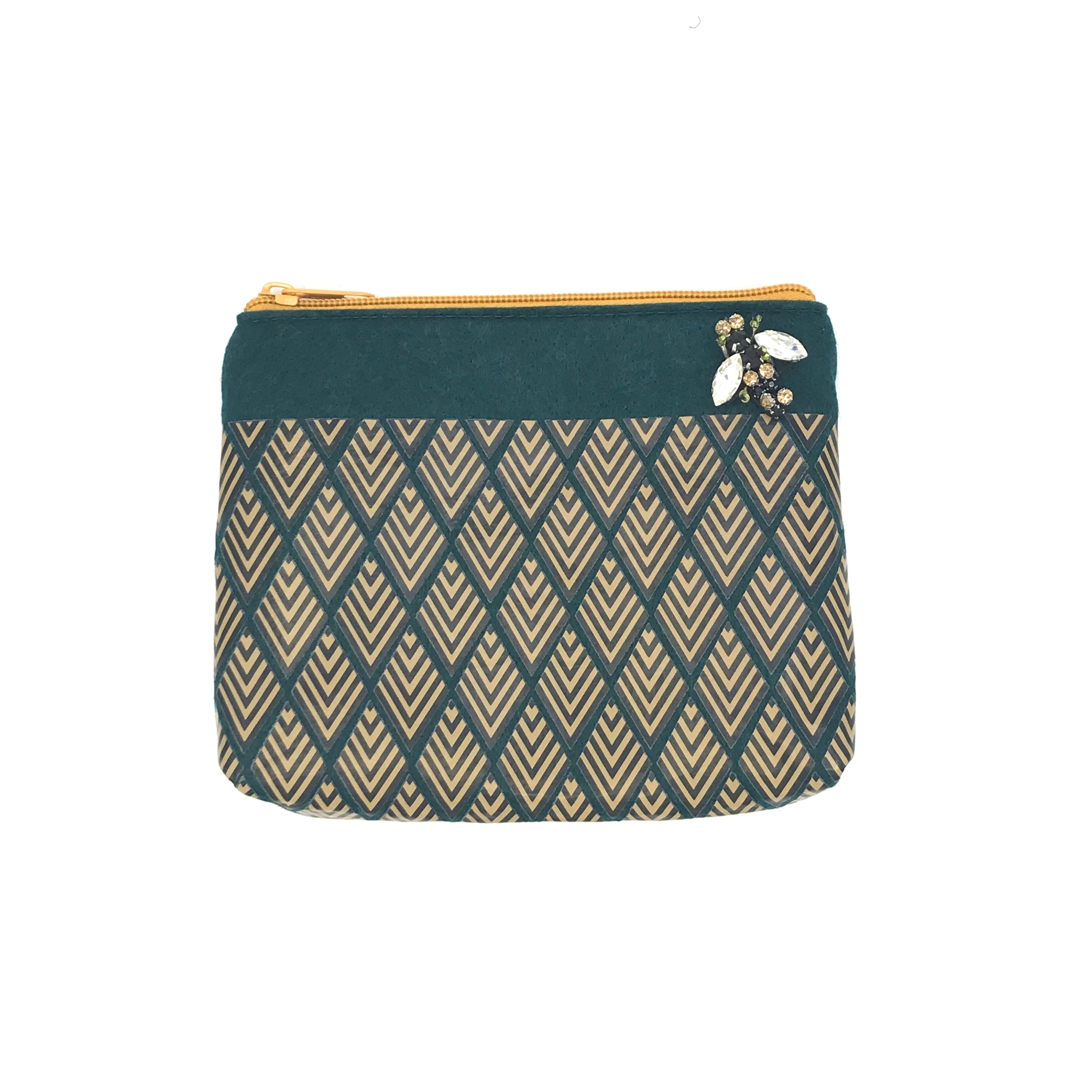 Deco print pouch in teal
