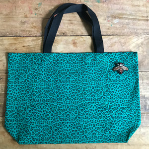 Leopard shopper bag in jade large NEW