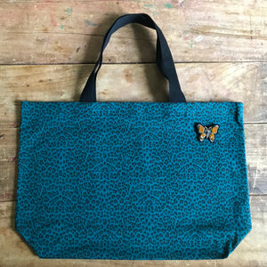 Leopard shopper bag in teal large NEW