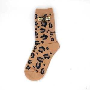 Leopard luxe socks with or without bumblebee pin