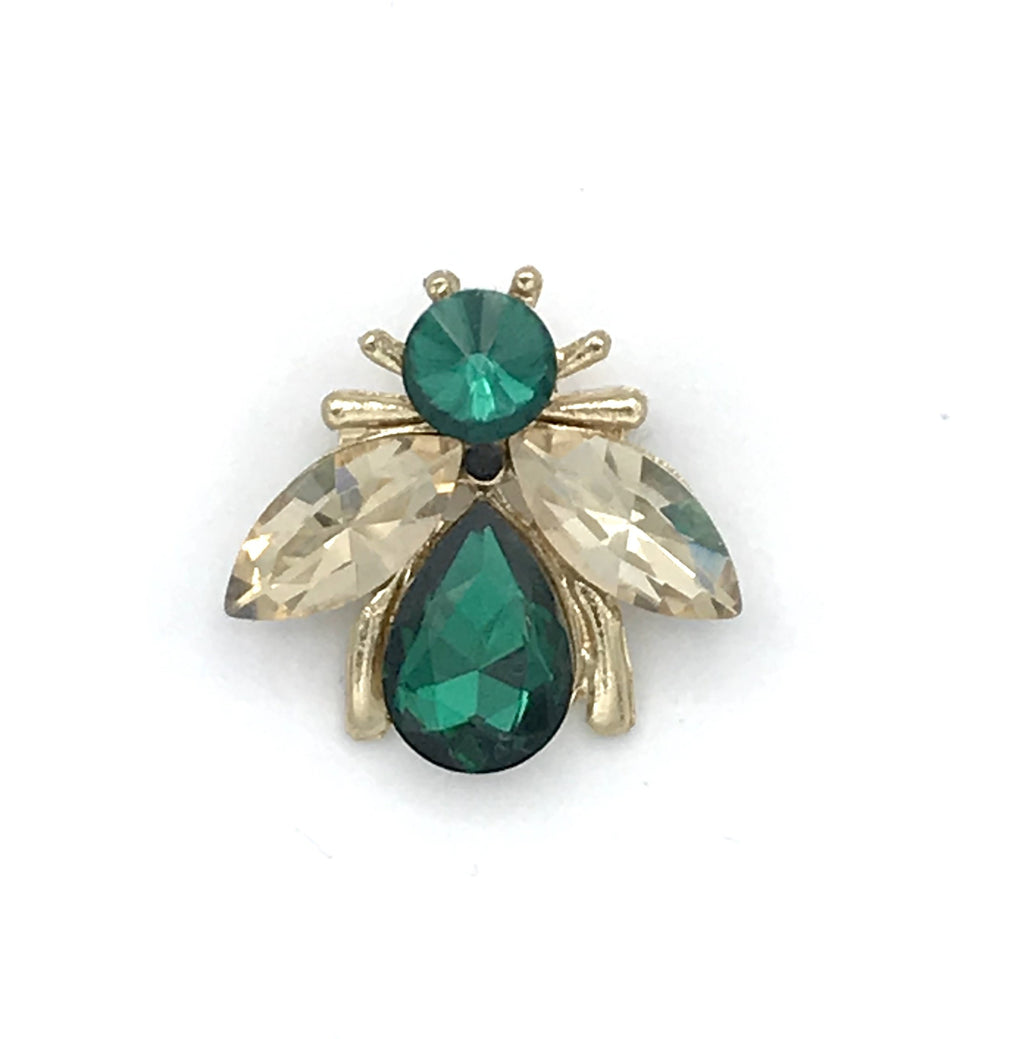 Luna bee pin green - recycled glass