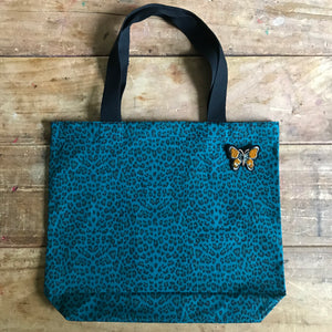 Leopard shopper bag medium teal NEW
