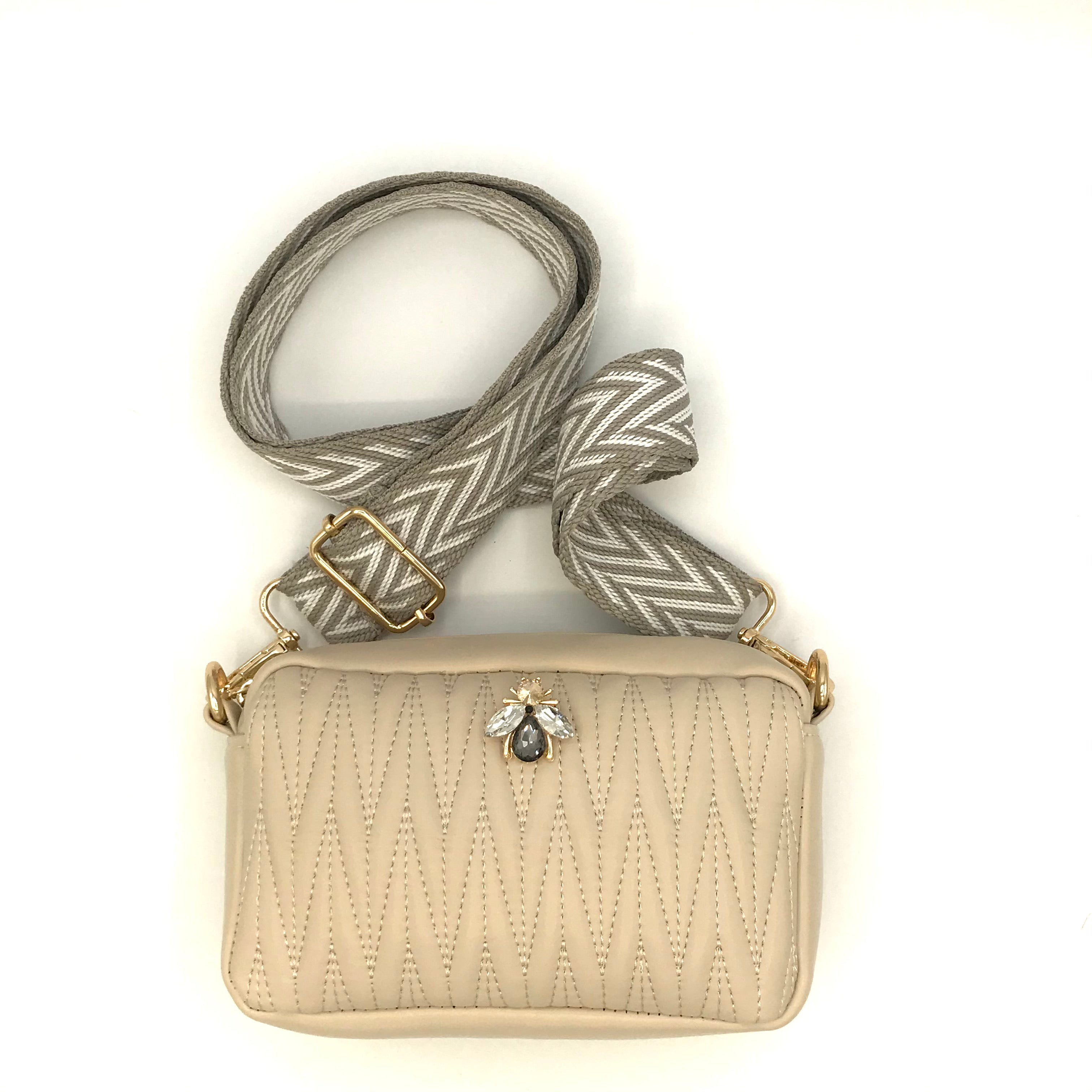 Mini cross body bag in vegan leather - Rivington in cream