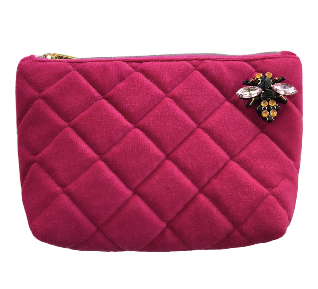 Quilted velvet make-up bag in bright pink - Nolita