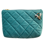 Quilted velvet make-up bag in duck egg - Nolita