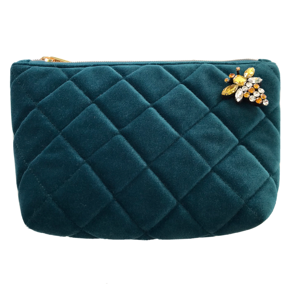 Quilted velvet make-up bag in teal - Nolita