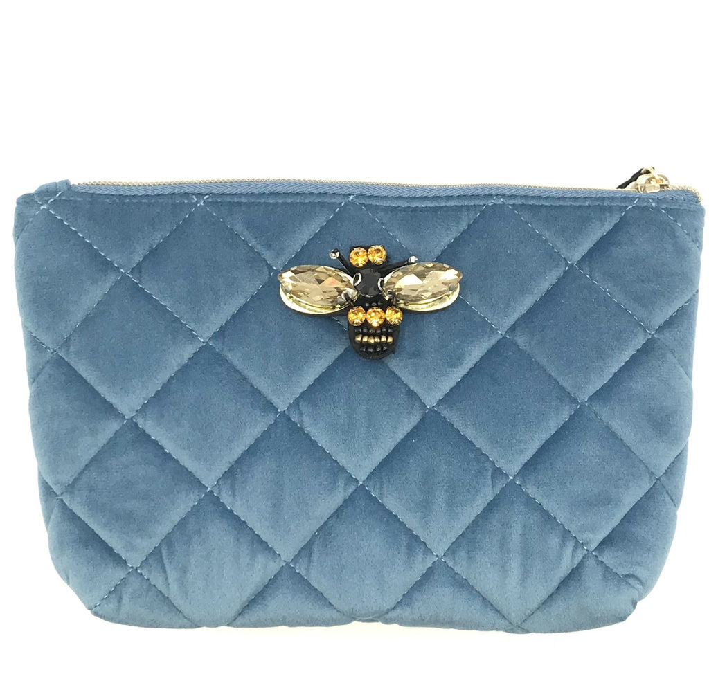 Quilted velvet make-up bag in Malibu blue - Nolita